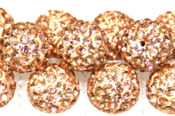 8mm Peach 70 Stone - Pave Crystal Beads- Half Drilled  PCBHD08-070-020